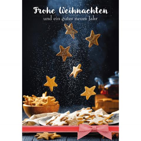 Glückwunschkarte mit Rezept - Frohe Weihnachten und ein gutes neues Jahr (6 Stück)