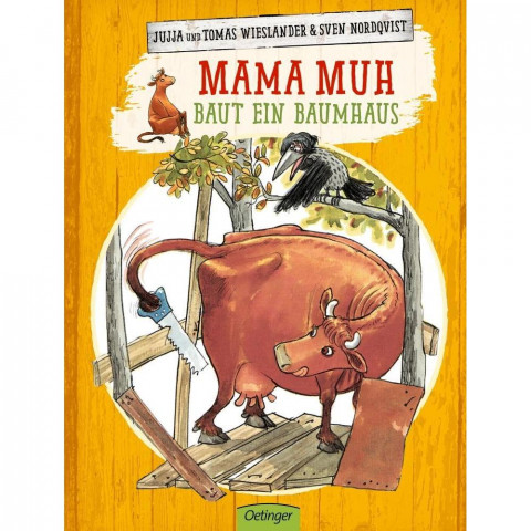Mama Muh baut ein Baumhaus
