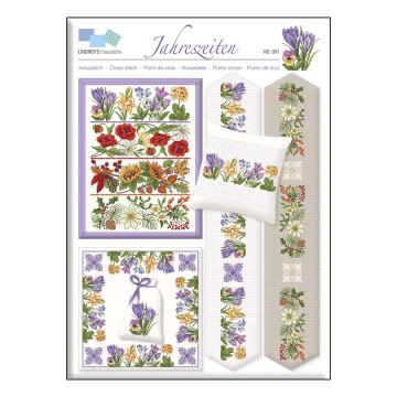 Stickvorlage »Jahreszeiten-Blumen«