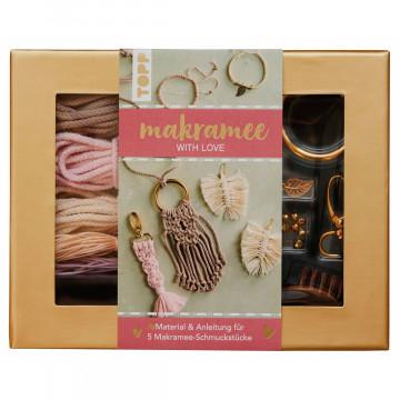 "Makramee-Schmuckset ""With Love"" (Rosé/Natur)"