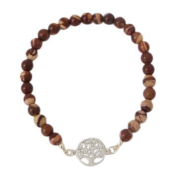 Edelstein-Armband mit Lebensbaum-Anhänger